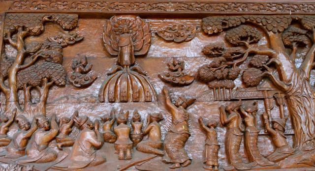 Buddha, sharing his wisdom.  A Burmese carving at the Shwe Dagon Pagoda in Yangon.